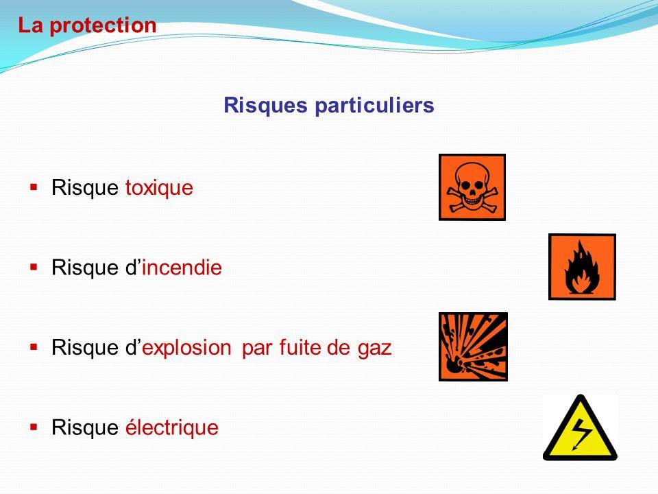 La protection Risques particuliers. Risque toxique. Risque d'incendie. Risque d'explosion par fuite de gaz.