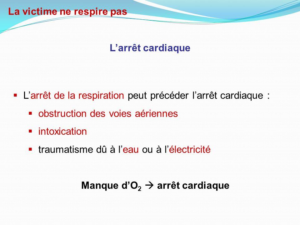 Manque d'O2  arrêt cardiaque