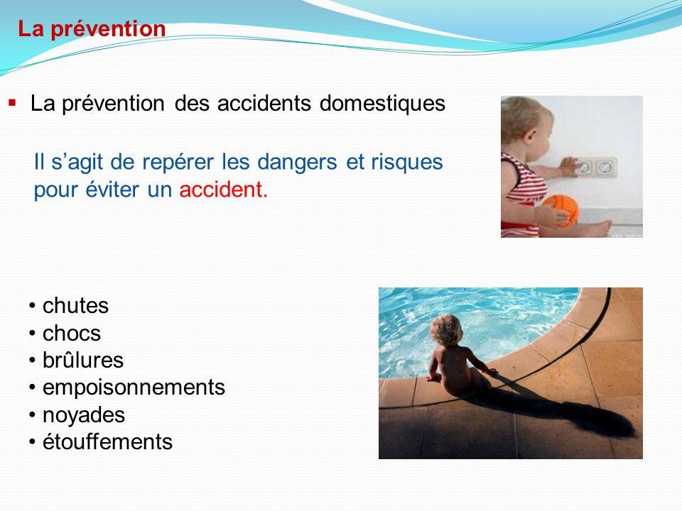 La prévention La prévention des accidents domestiques. Il s'agit de repérer les dangers et risques.