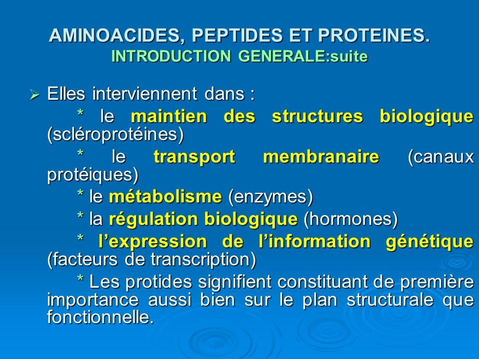 AMINOACIDES, PEPTIDES ET PROTEINES. INTRODUCTION GENERALE:suite