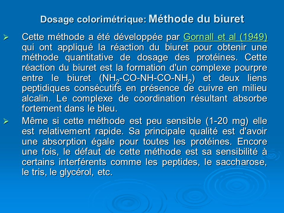 Dosage colorimétrique: Méthode du biuret