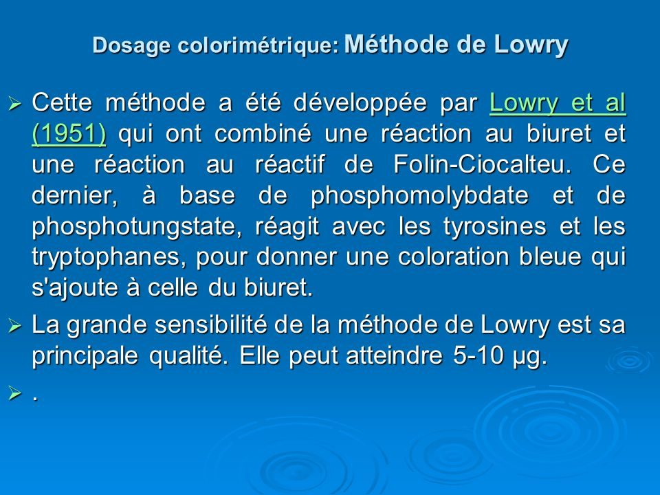 Dosage colorimétrique: Méthode de Lowry