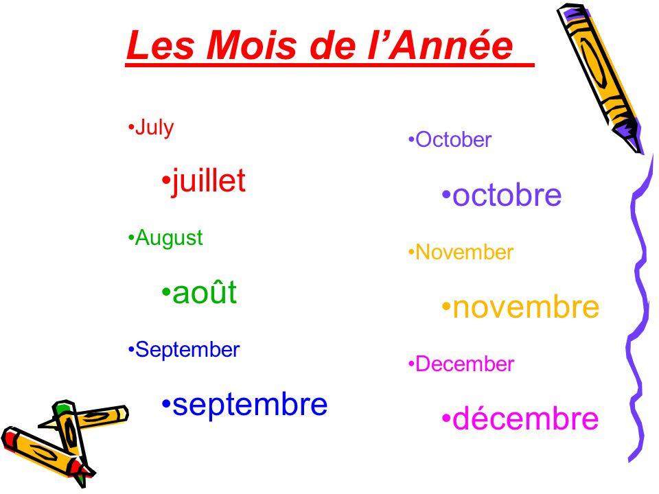 Les Mois de l'Année juillet octobre août novembre septembre décembre