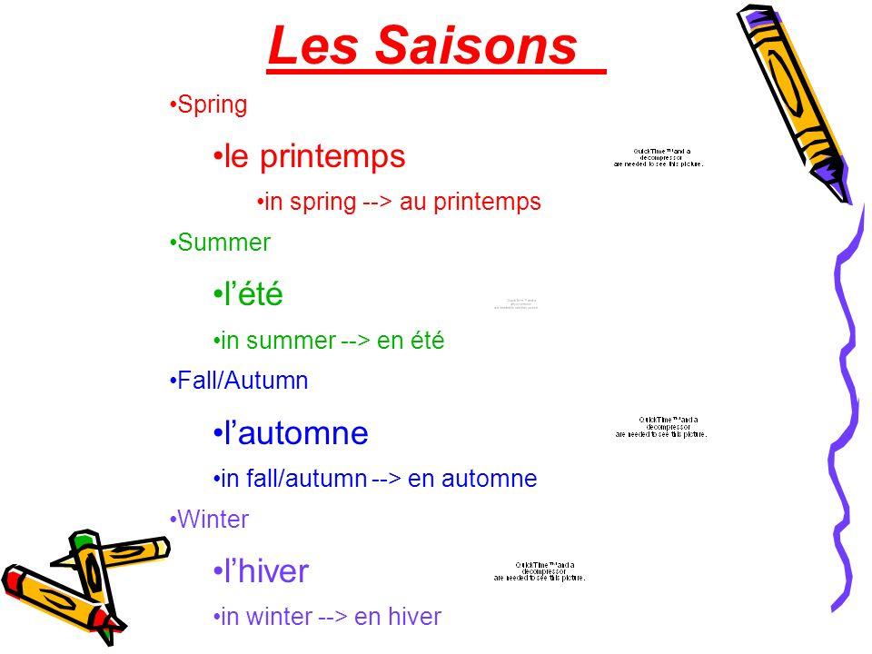 Les Saisons le printemps l'été l'automne l'hiver Spring