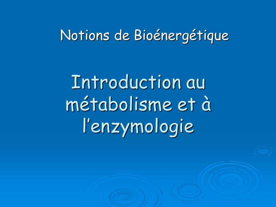 Introduction au métabolisme et à l'enzymologie