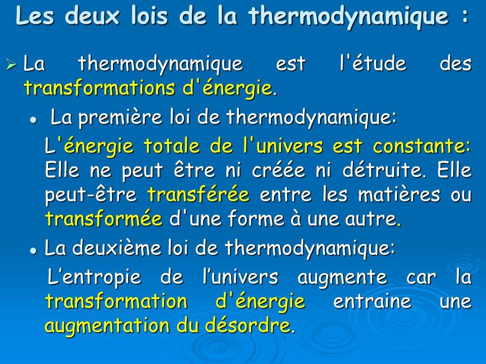 Les deux lois de la thermodynamique :