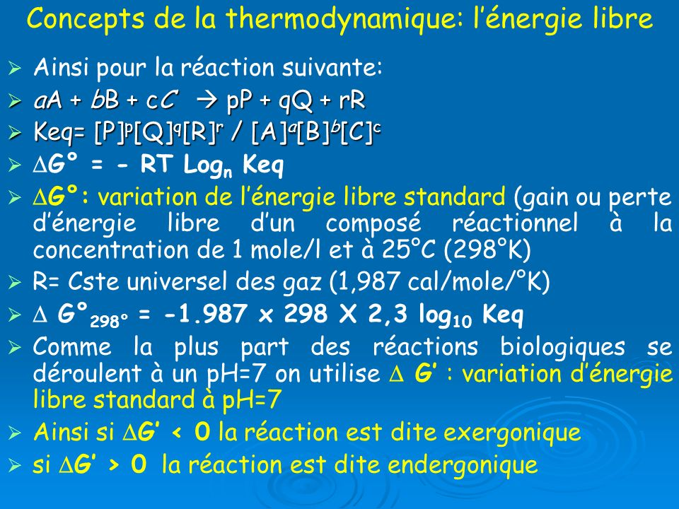 Concepts de la thermodynamique: l'énergie libre