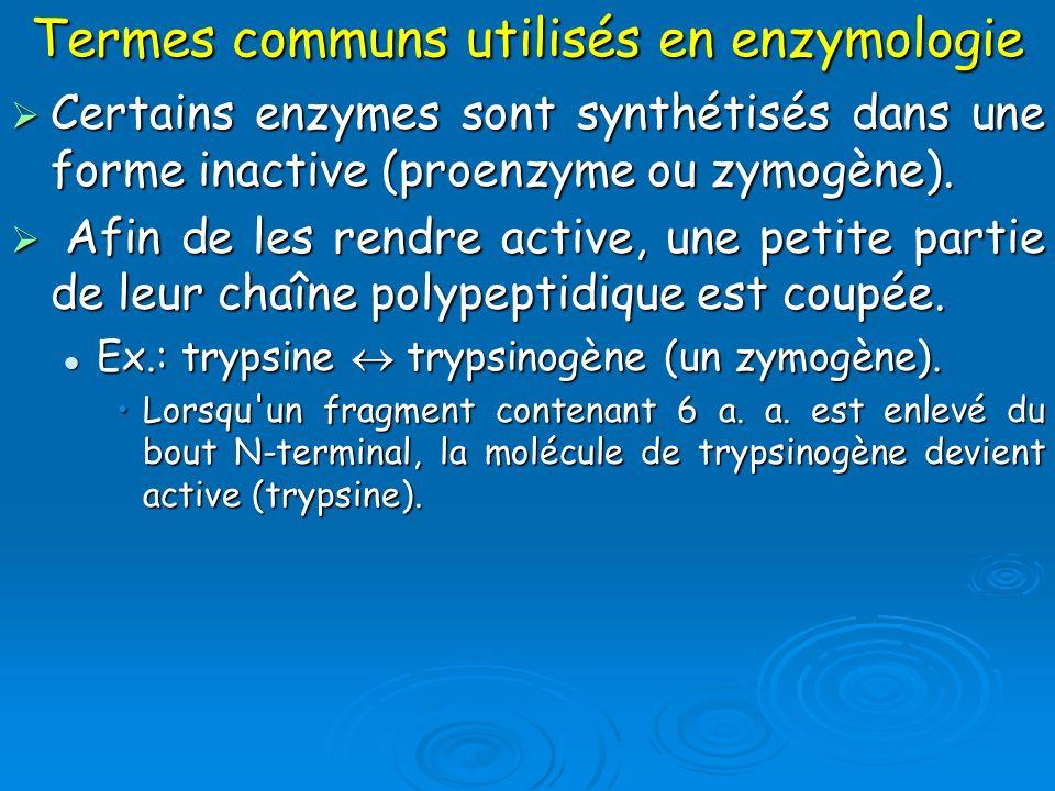 Termes communs utilisés en enzymologie