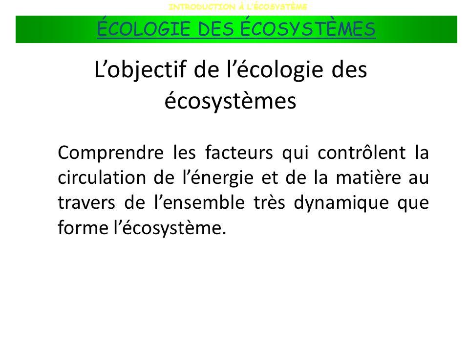 L'objectif de l'écologie des écosystèmes