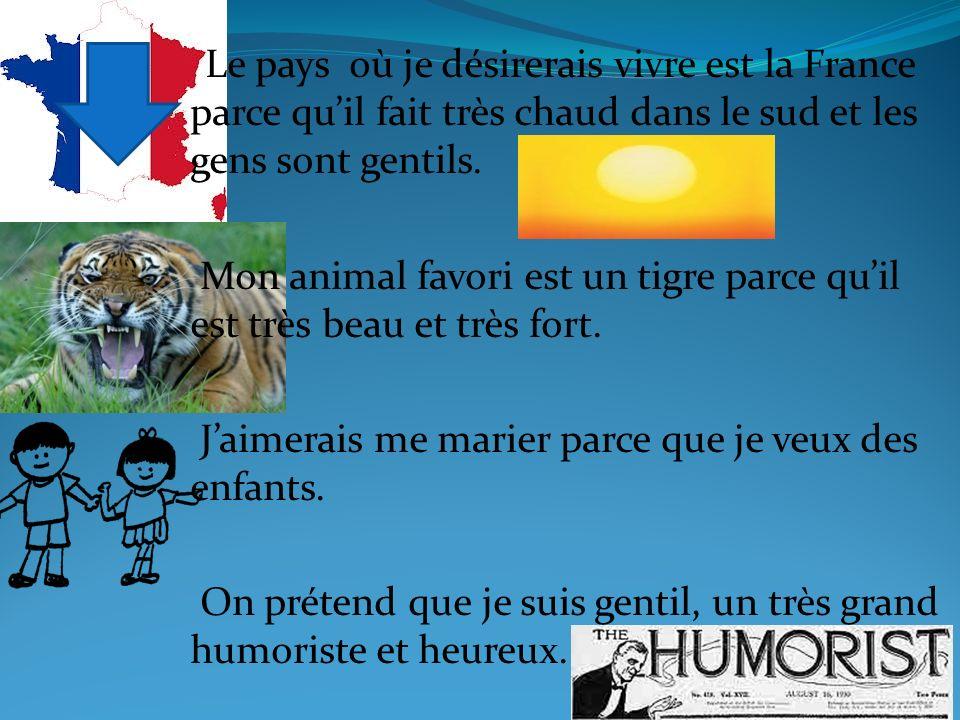 Mon animal favori est un tigre parce qu'il est très beau et très fort.