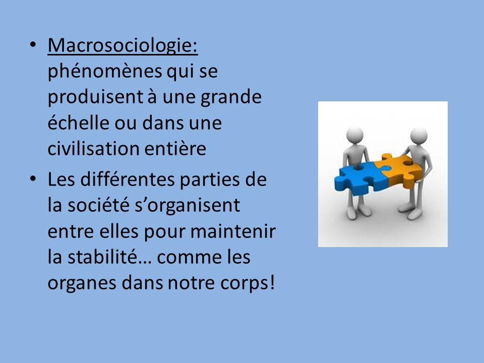 Macrosociologie: phénomènes qui se produisent à une grande échelle ou dans une civilisation entière