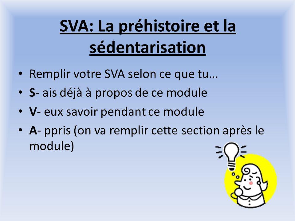 SVA: La préhistoire et la sédentarisation