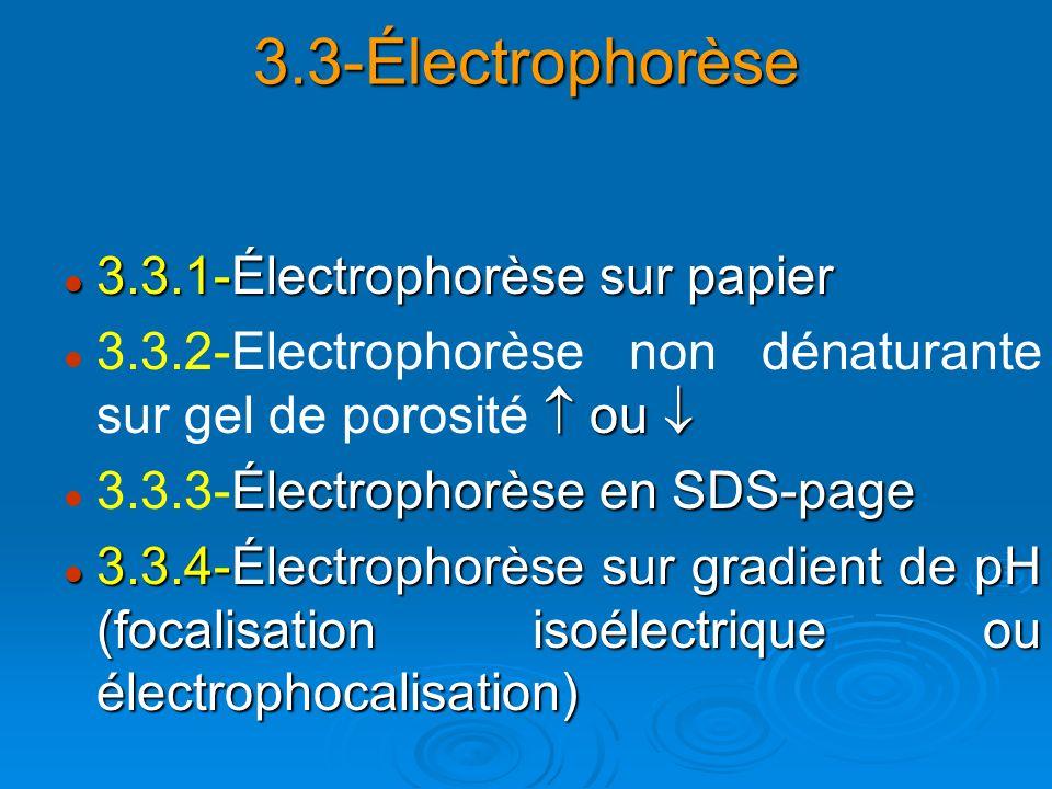 3.3-Électrophorèse 3.3.1-Électrophorèse sur papier