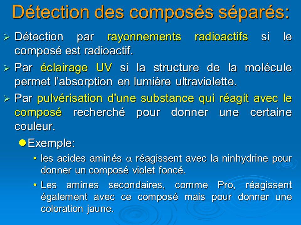 Détection des composés séparés: