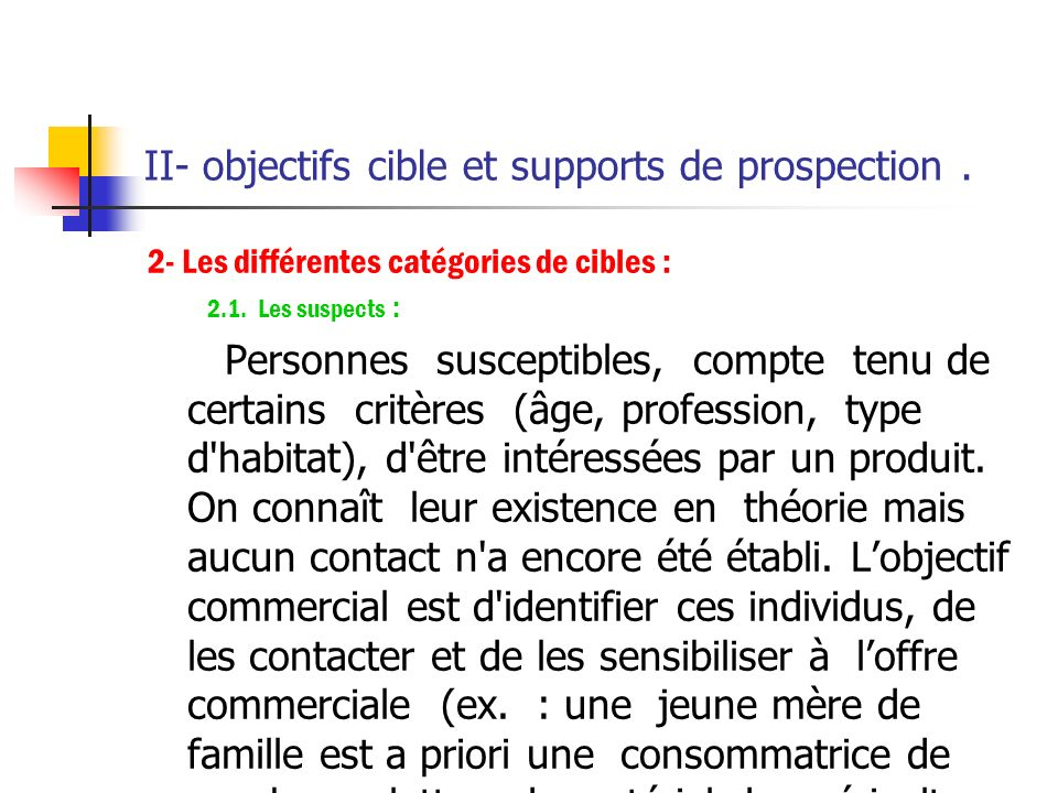 II- objectifs cible et supports de prospection .