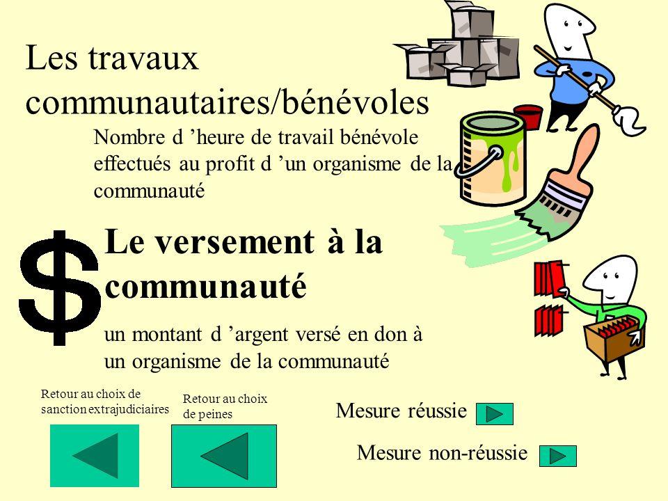 Les travaux communautaires/bénévoles
