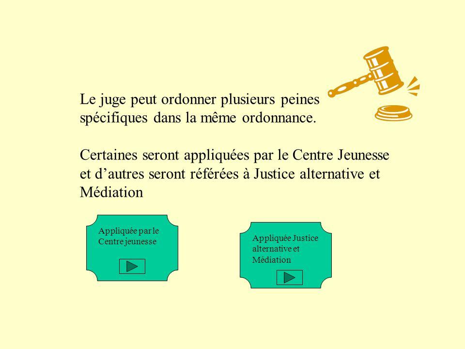 Le juge peut ordonner plusieurs peines spécifiques dans la même ordonnance.