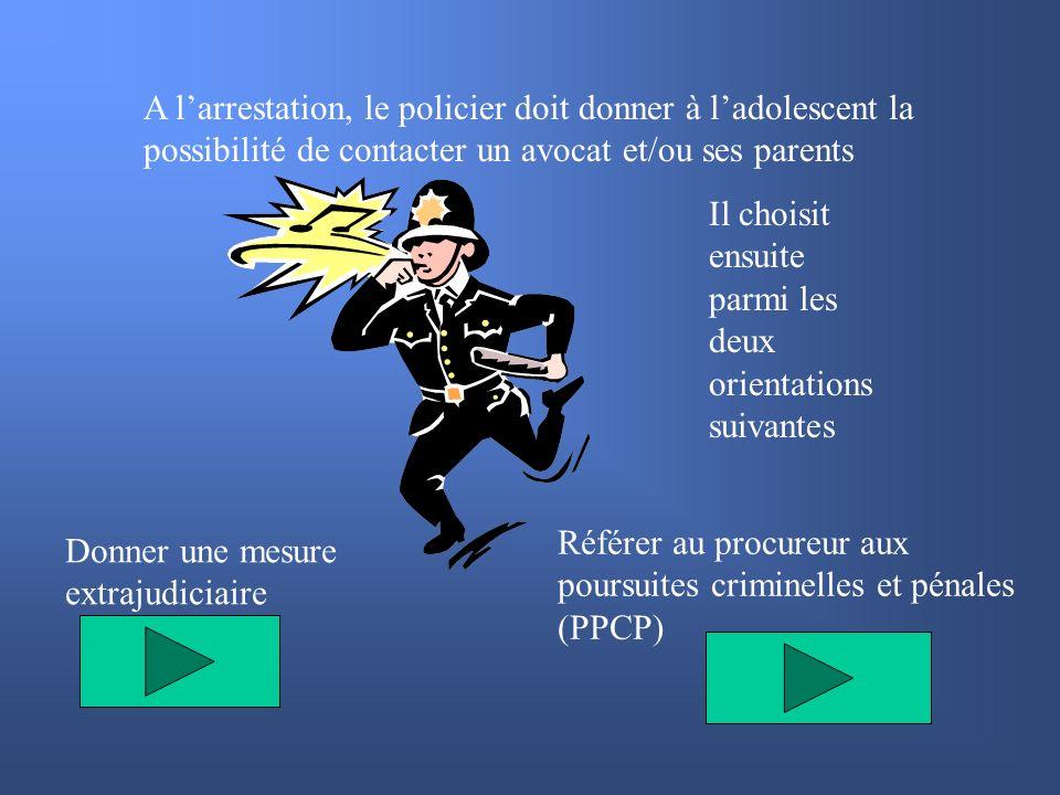 A l'arrestation, le policier doit donner à l'adolescent la possibilité de contacter un avocat et/ou ses parents