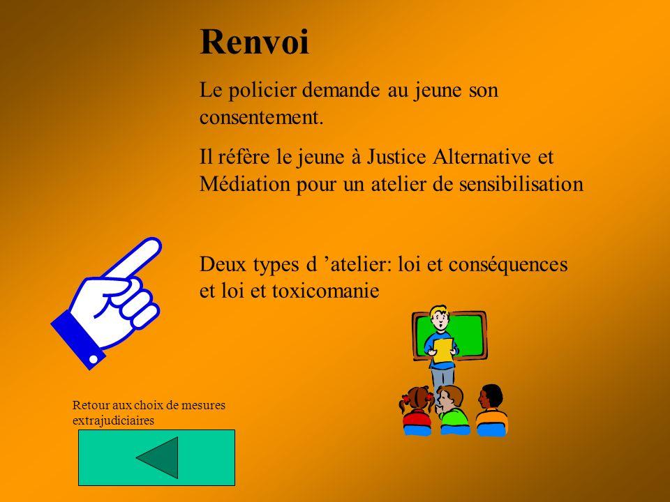 Renvoi Le policier demande au jeune son consentement.