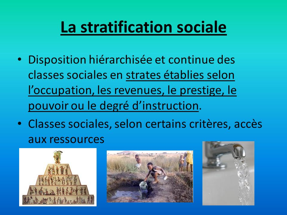La stratification sociale
