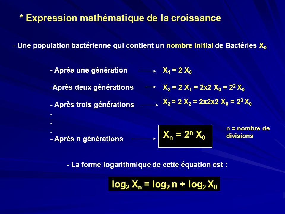 * Expression mathématique de la croissance