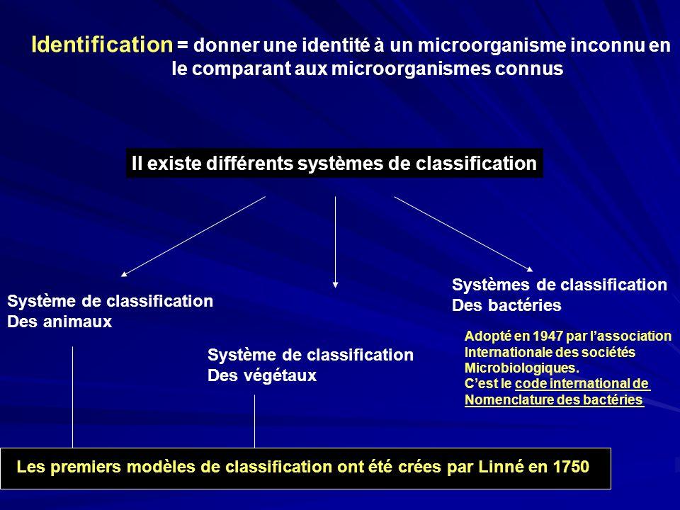 Identification = donner une identité à un microorganisme inconnu en