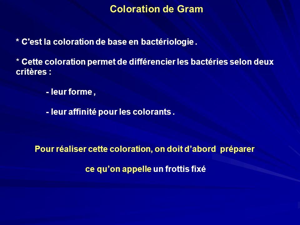Coloration de Gram * C est la coloration de base en bactériologie.