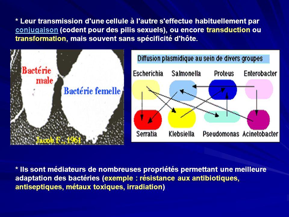 * Leur transmission d une cellule à l autre s effectue habituellement par conjugaison (codent pour des pilis sexuels), ou encore transduction ou transformation, mais souvent sans spécificité d hôte.