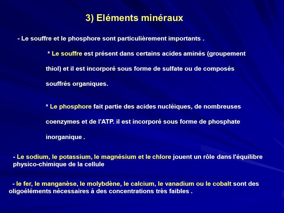 3) Eléments minéraux - Le souffre et le phosphore sont particulièrement importants. * Le souffre est présent dans certains acides aminés (groupement.