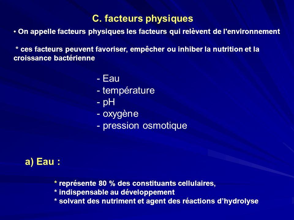 C. facteurs physiques - Eau - température pH oxygène