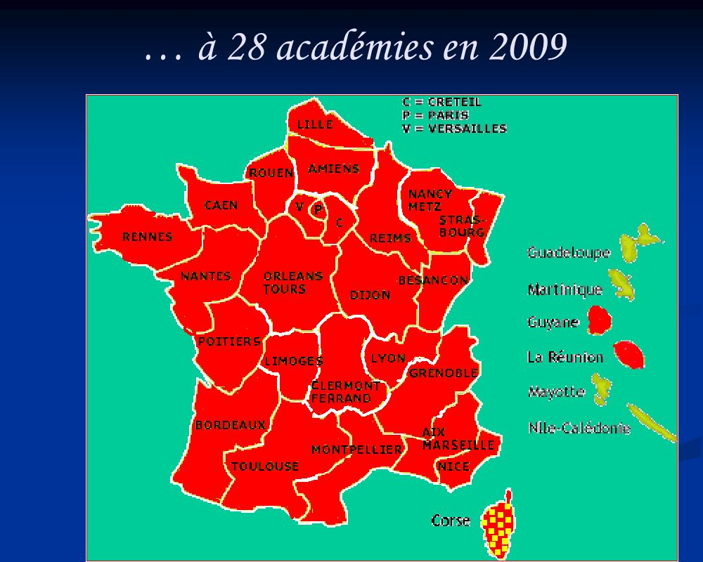 … à 28 académies en 2009