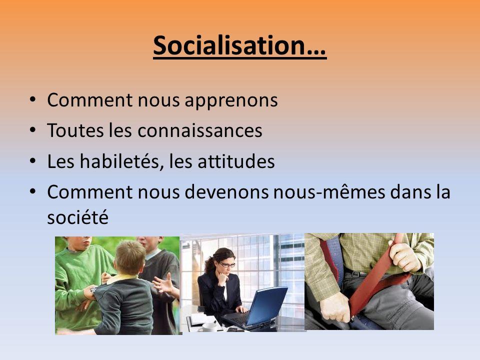 Socialisation… Comment nous apprenons Toutes les connaissances