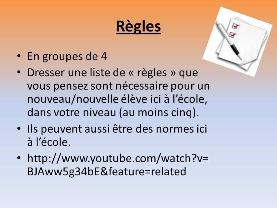 Règles En groupes de 4.