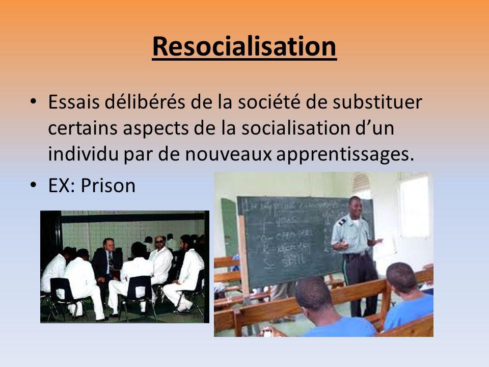 Resocialisation Essais délibérés de la société de substituer certains aspects de la socialisation d'un individu par de nouveaux apprentissages.