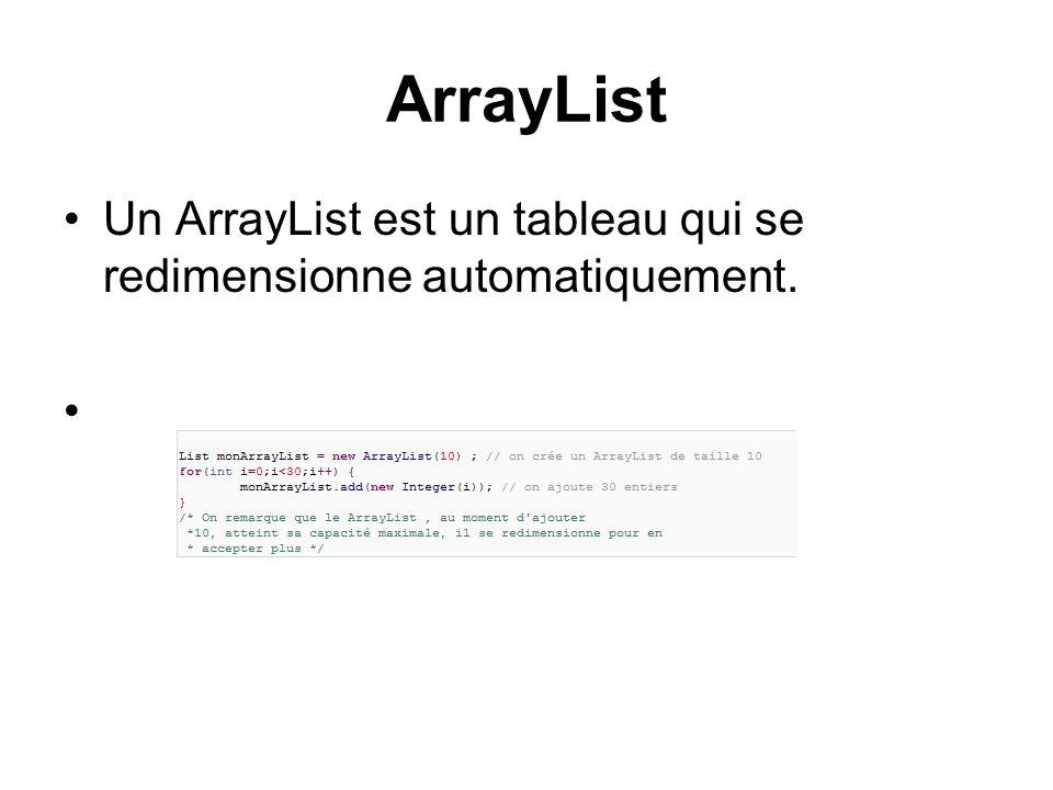 ArrayList Un ArrayList est un tableau qui se redimensionne automatiquement.