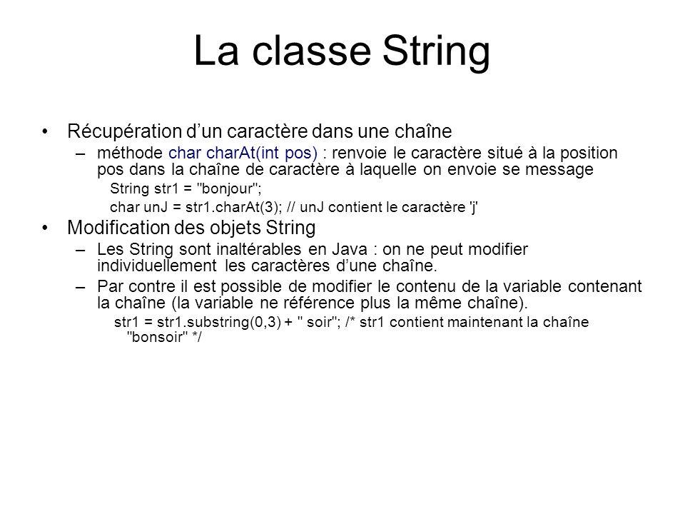 La classe String Récupération d'un caractère dans une chaîne