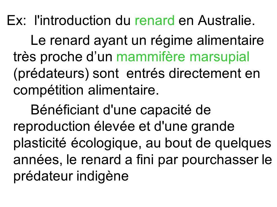 Ex: l introduction du renard en Australie.