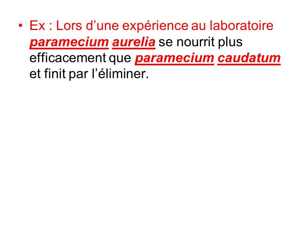 Ex : Lors d'une expérience au laboratoire paramecium aurelia se nourrit plus efficacement que paramecium caudatum et finit par l'éliminer.