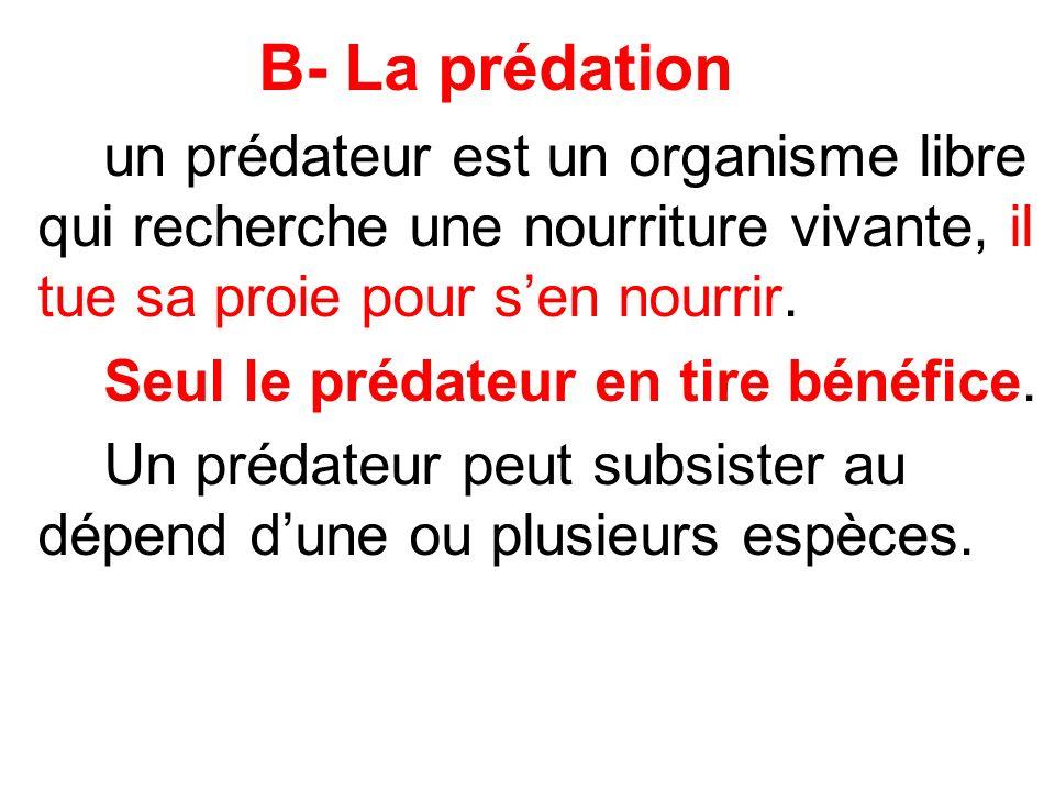B- La prédation Seul le prédateur en tire bénéfice.