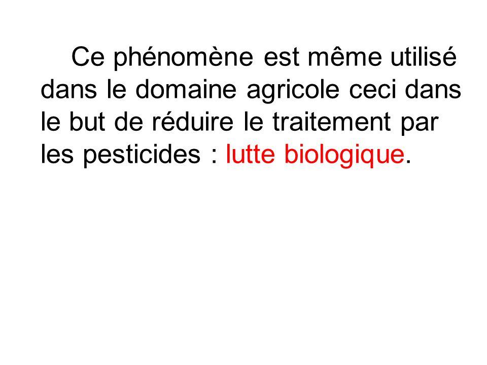 Ce phénomène est même utilisé dans le domaine agricole ceci dans le but de réduire le traitement par les pesticides : lutte biologique.