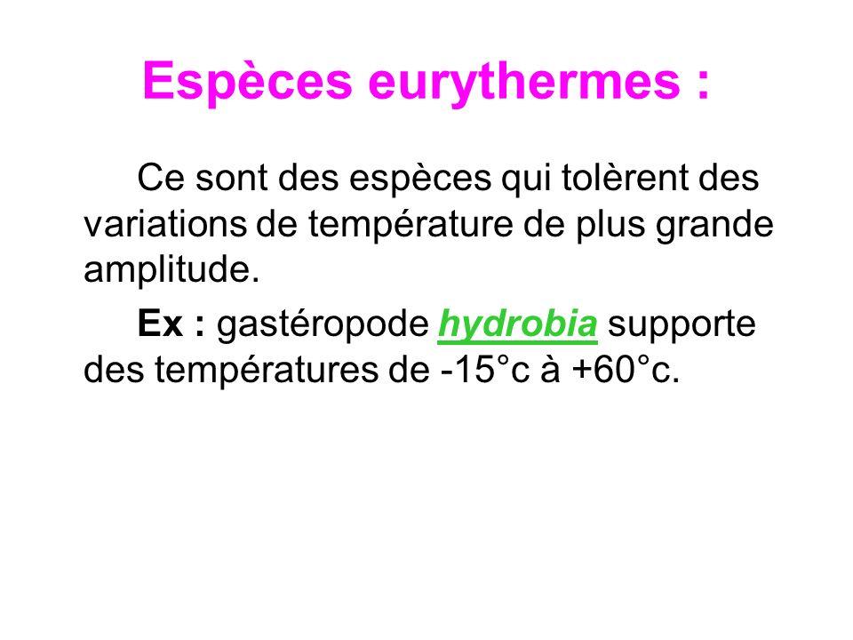 Espèces eurythermes :Ce sont des espèces qui tolèrent des variations de température de plus grande amplitude.