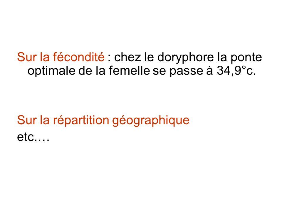 Sur la fécondité : chez le doryphore la ponte optimale de la femelle se passe à 34,9°c.