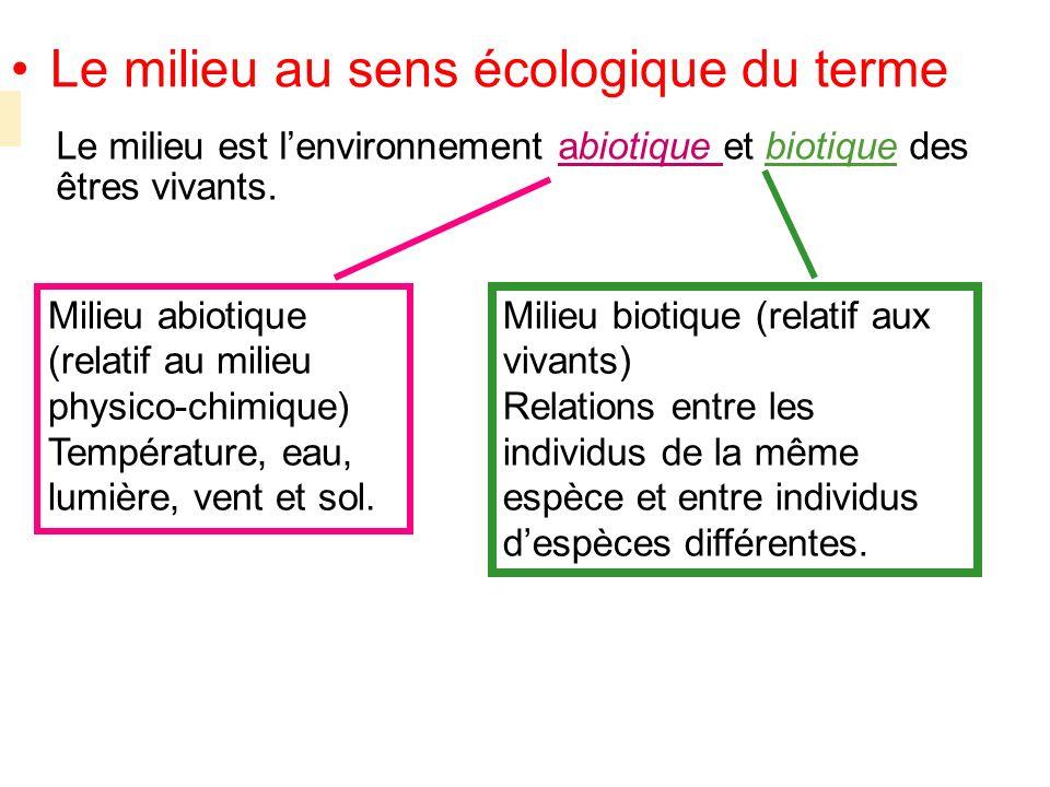 Le milieu au sens écologique du terme