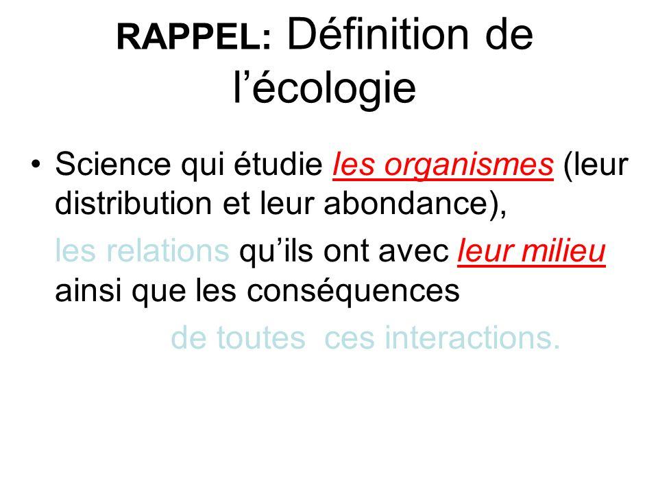 RAPPEL: Définition de l'écologie