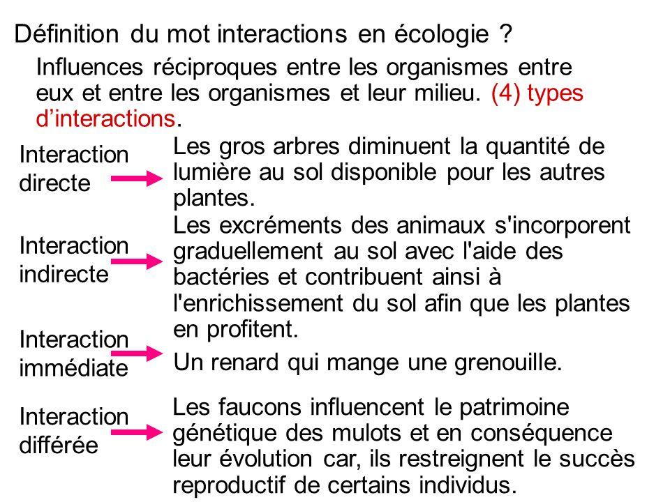 Définition du mot interactions en écologie