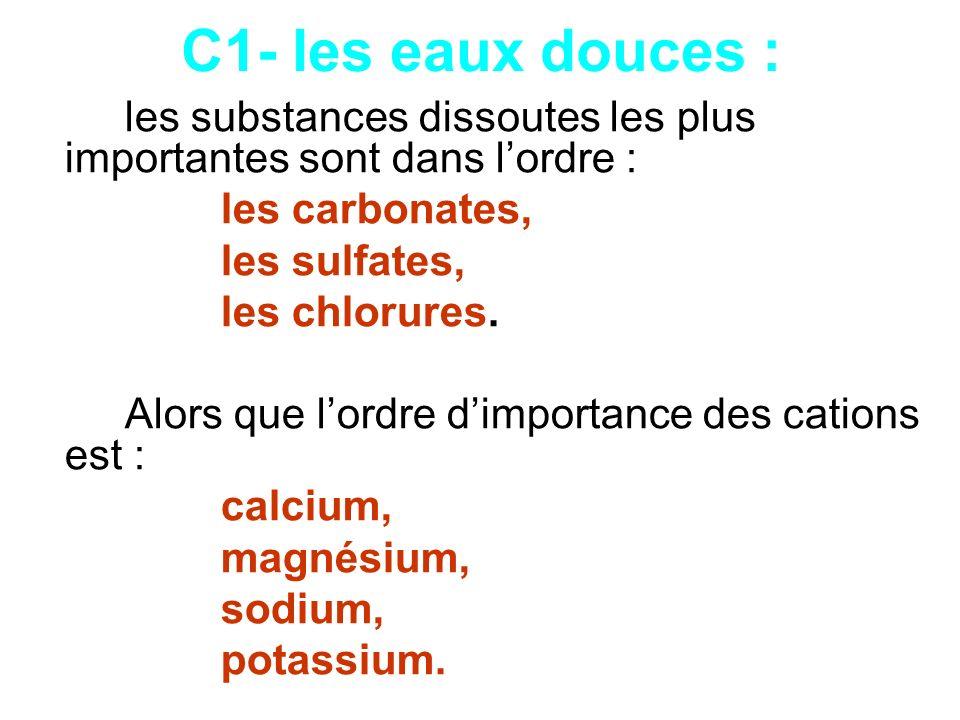 C1- les eaux douces : les carbonates, les sulfates, les chlorures.
