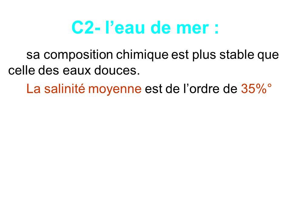 C2- l'eau de mer : sa composition chimique est plus stable que celle des eaux douces.