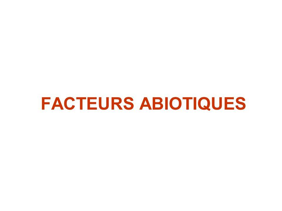 FACTEURS ABIOTIQUES