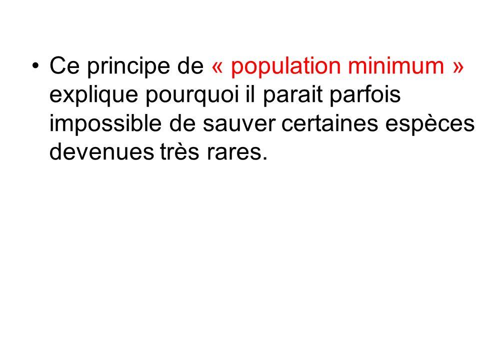 Ce principe de « population minimum » explique pourquoi il parait parfois impossible de sauver certaines espèces devenues très rares.