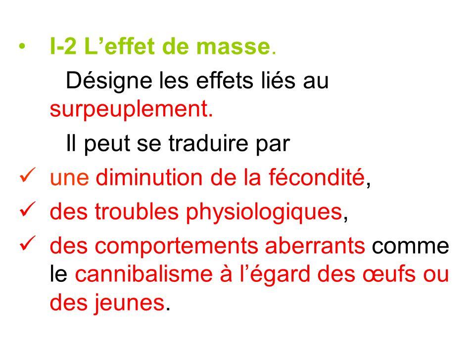I-2 L'effet de masse.Désigne les effets liés au surpeuplement. Il peut se traduire par. une diminution de la fécondité,